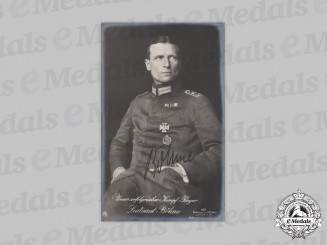 Germany, Imperial. A Wartime Signed Postcard of Fighter Ace Erwin Böhme