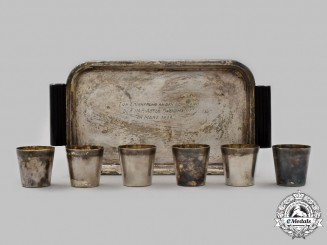 Germany, DAF. A 1939 Wehrmacht DAF Company Tray with Shot Glasses