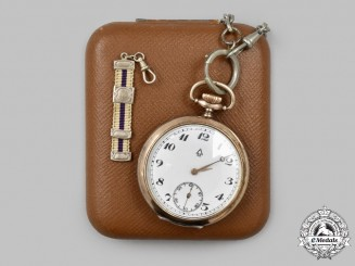 Germany, Third Reich. A Commemorative Silver Pocket Watch, with Case, for 40 Years of Copper Mining to Robert Besser