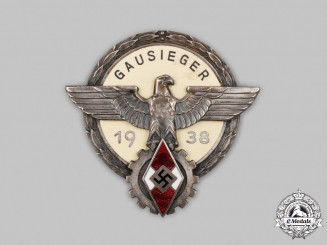 Germany, HJ. A 1938 National Trade Competition Regional Victor's Badge, by Gustav Brehmer