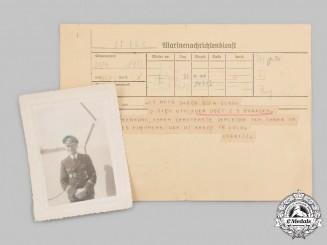 Germany, Kriegsmarine. A German Cross in Gold Award Notice to Friedrich Braasch, with Recipient Photo