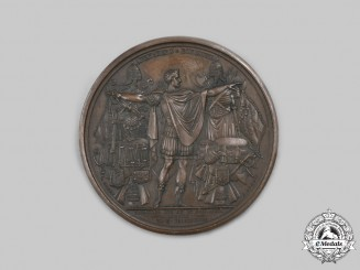 France, Napoleonic Kingdom. A Breaking of the Treaty of Pressburg & Battle of Abensberg, April Medal 1809
