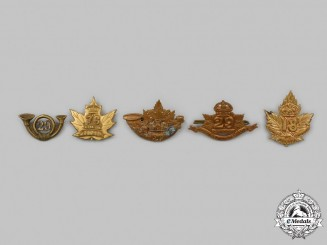 Canada, CEF & Dominion. A Lot of Five Regimental Badges