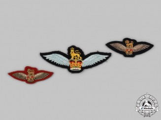 Canada, United Kingdom. Three British Army Glider Pilot Badges with Queen's Crown