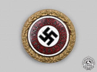 Germany, NSDAP. A Golden Party Badge, Small Version by Josef Fuess, to Friedrich Volkmann