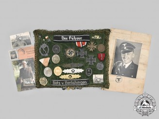 Germany, SS. A Rare and Unique Award Pillow from the Estate of SS-Hauptscharführer Karl Paar
