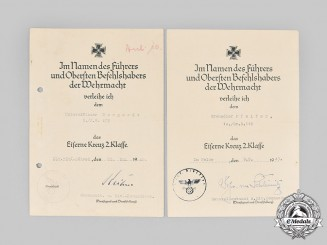 Germany, Heer. A Pair of Iron Cross II Class Award Documents