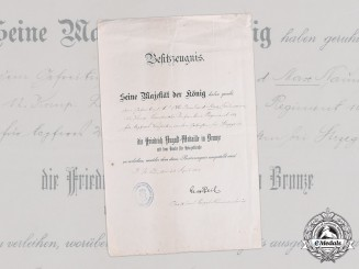Germany, Imperial. A Saxon Friedrich August Medal in Bronze Certificate to Gefreiter Naumann