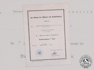 Germany, Heer. A Long Service Award IV Class Document, Signed by Generalleutnant Franz Halder (KC)