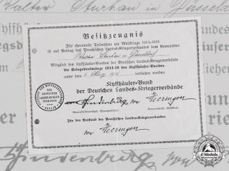 Germany, Weimar Republic. A Kyffhäuser League War Medal Certificate to Walter Sturhan