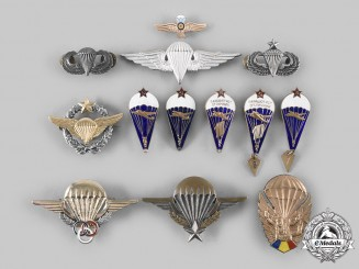 France, Romania, Russia, Saudi Arabia, United States. A Lot of Thirteen Parachutist Badges