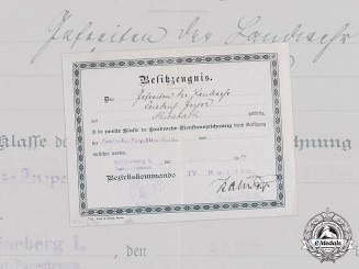 Germany, Imperial. A Landwehr Long Service Award II Class Document to Gefreiter Geyer, 1914