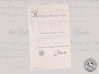 Germany, Imperial. A Life Saving Medal Certificate to Senior Policeman, 1917