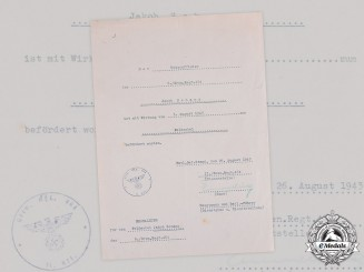 Germany, Heer. A Promotion Certificate to Feldwebel Schanz, Signed by RK Recipient