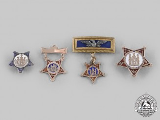 United States. Four Grand Army of the Republic (GAR) Gold Badges