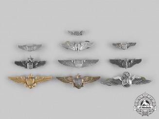 United States. A Lot of Ten Flight Badges