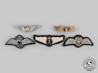 Jordan, Malaysia, Mexico, Morocco, Saudi Arabia. Lot of Five Air Force Pilot Badges