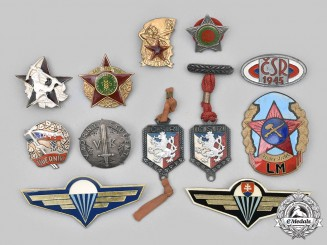 Czechoslovakia, Socialist Republic; Slovakia, Republic. Lot of Twelve Armed Forces and Civilian Worker Badges