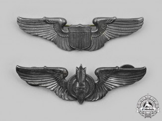 Unites States. A Set of USAAF Pilots Wings and Post War Bombardier Wings