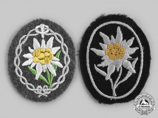 Germany, Wehrmacht. A Pair of Edelweiss Sleeve Insignia, Heer and SS