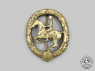 Germany, Third Reich. A German Equestrian Badge, III Class in Bronze, by L. Christian Lauer