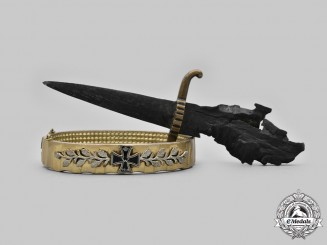 Germany, Imperial. A Trench Art Bracelet and Stiletto, c.1918