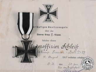 Germany, Imperial. A 1914 Iron Cross II Class with Award Document to Unteroffizier Schleif