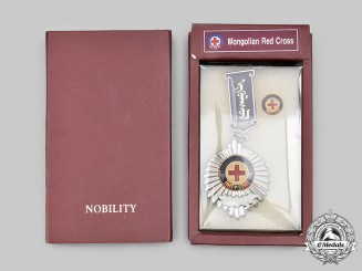 Mongolia, Sovereign State. A Humanitarian Silver Medal of the Mongolian Red Cross Society