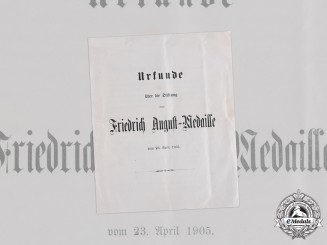 Germany, Imperial. The Statutes of the Friedrich August Medal, 1916
