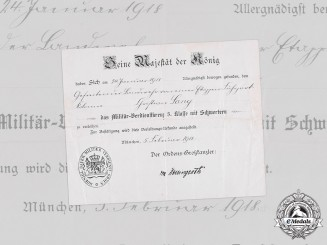 Germany, Imperial. A Bavarian Military Merit Cross, III Class with Swords Document 1918