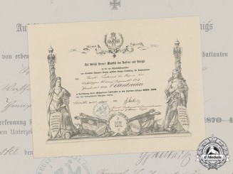 Germany, Imperial. A Franco-Prussian War Medal Document to Leutnant Eckenbrecher, 1871