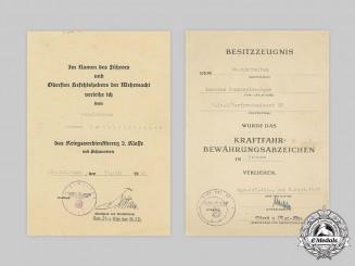 Germany, Heer. Two Award Documents to Nebelwerfer, 1st Heavy Battery of (Nebel-)Werfer-Regiment