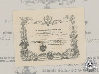 Germany, Imperial. A Franco-Prussian War Medal for Non-Combatants Certificate to Female Notary, 1873