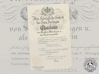 Saxe-Meiningen, Duchy. A First War Honour Cross Document to Leutnant Ernst Erb, 1915