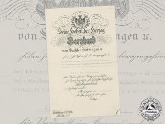 Saxe-Meiningen, Duchy. An Honour Cross for War Merit Document to Leutnant Kurt Seifert, 1917