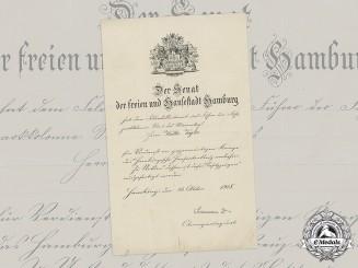 Germany, Imperial. A Hamburg Hanseatic Cross Document to Feldwebelleutnant Walter Vogler, 1918