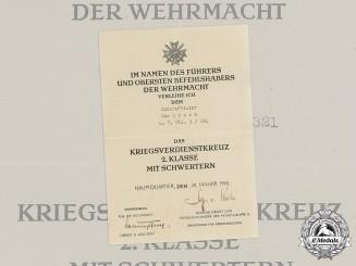 Germany, Heer. A War Merit Cross 2nd Class with Swords Certificate to NCO Rösch