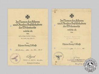 Germany, Heer. An EK1 and EK2 Certificate to Mountain Trooper Walter Braun