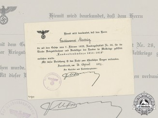 Germany, Third Reich. A Defending of Tyrol 1914-1918 Medal Certificate to Ferdinand Matzig, 1939