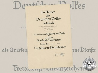 Germany, NSDAP. A Civil Service Faithful Service Award in Gold Certificate to Chancellery Secretary Georg Rook, 1938