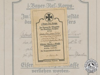 Germany, Imperial. A Preliminary Iron Cross II Class Certificate to Bavarian Gefreiter Georg Müller, 1916