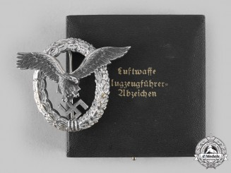 Germany, Luftwaffe. A Pilot's Badge, with Case, by Friedrich Linden