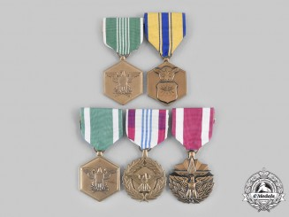United States. A Lot of Five Army Meritorious and Commendation Awards
