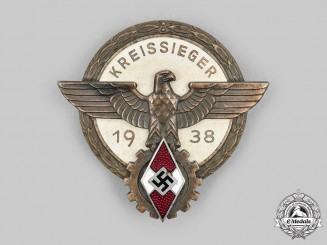 Germany, HJ. A 1938 Regional Trade Competition Victor's Badge, by Gustav Brehmer