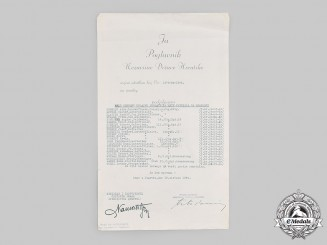 Croatia, Independent State. A 1944 Bravery Medal Award Nominee List, with Ante Pavelić Signature