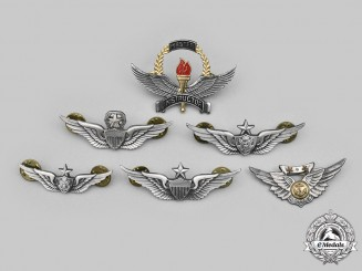 United States. A Lot of Six Army and Navy Flight Badges