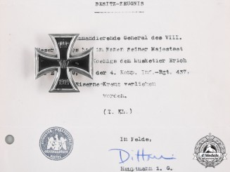 Germany, Imperial. A 1914 Iron Cross I Class with Award Document to Musketeer Erich Liebig