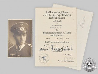 Germany, Customs. A War Merit Cross 2nd Class with Swords Certificate and Accompanying Letter to Customs Assistant Laux