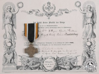 Germany, Imperial. A Königgrätz Cross and Award Certificate to Gefreiter Buddeberg, 1866