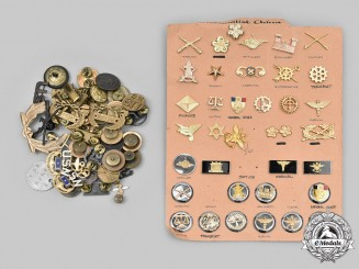 United States; China, Republic. A Lot of Seventy-Four Army, Navy, Air Force and ROTC Insignia